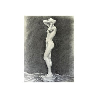Female Nude Figure Drawing by V. Costello For Sale