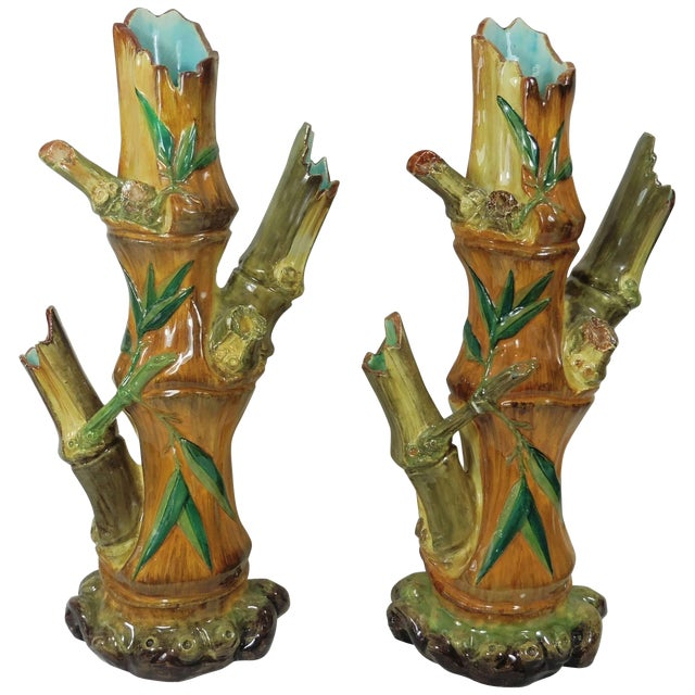 19th Century Japonism Majolica Bamboo Vases A Pair Chairish