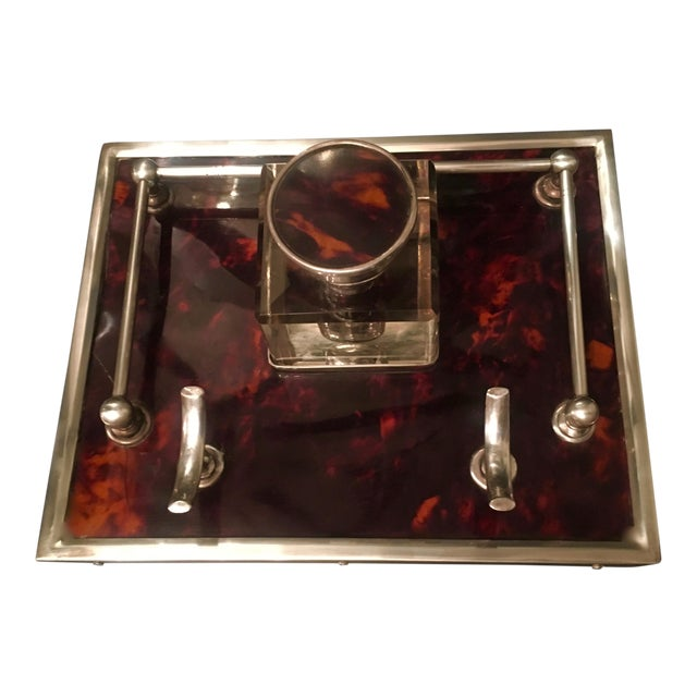 Red Tortoise & Sterling Silver Ink Well For Sale