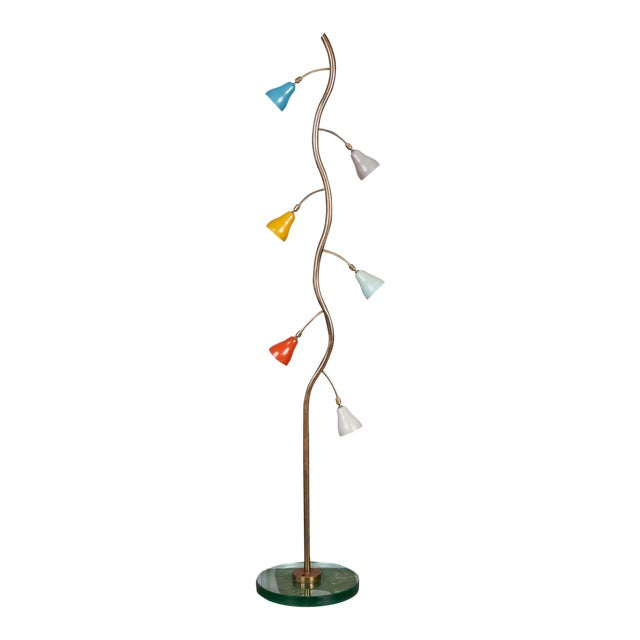 Italian Freeform Tulip Shade Floor Lamp For Sale