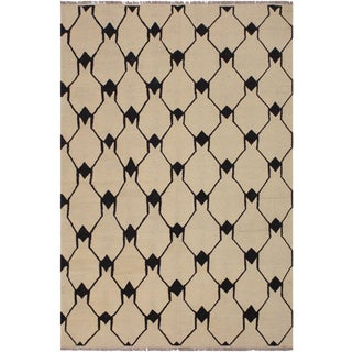 Abstract Kilim Dorthey Ivory Hand-Woven Wool Rug -5′8″ × 7′4″ For Sale