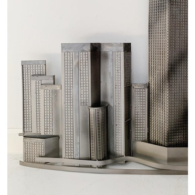 Americana Curtis Jere World Trade Center Twin Towers Metal Wall Sculpture For Sale - Image 3 of 7