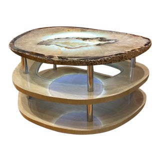Contemporary Grey Agate Coffee Table For Sale