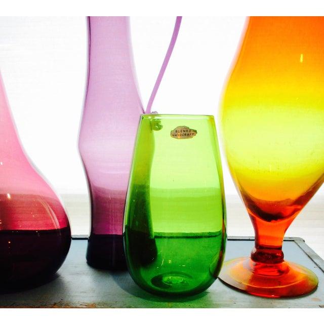 Blenko Green Art Glass Vase - Image 5 of 10