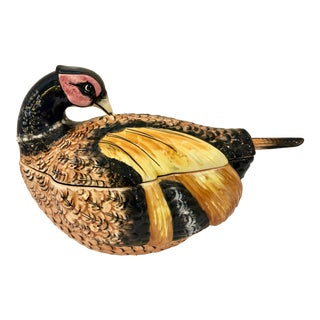 Italian Hand Painted Glazed Ceramic Pheasant Soup Tureen For Sale