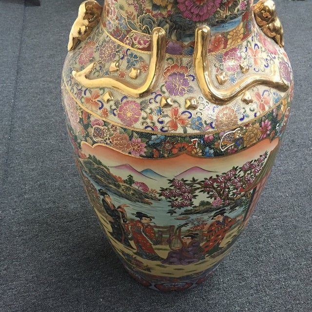 Asian Golden Floral Vase - Image 6 of 7