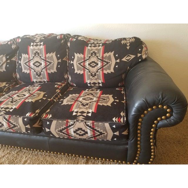 Primitive Pendleton Wool Santa Fe Style Southwestern Sofa For Sale - Image 3 of 6