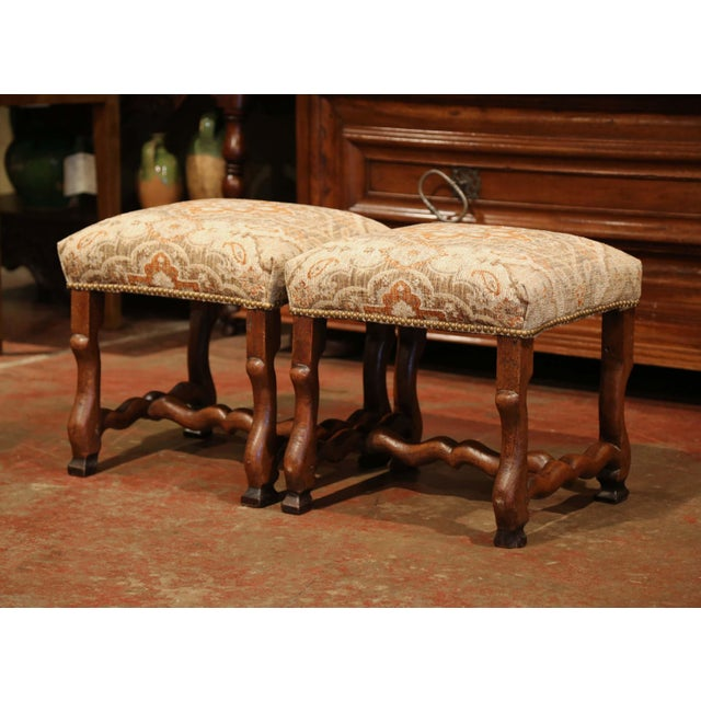 19th Century French Louis XIII Carved Walnut Os De Mouton Stools - a Pair For Sale - Image 9 of 9