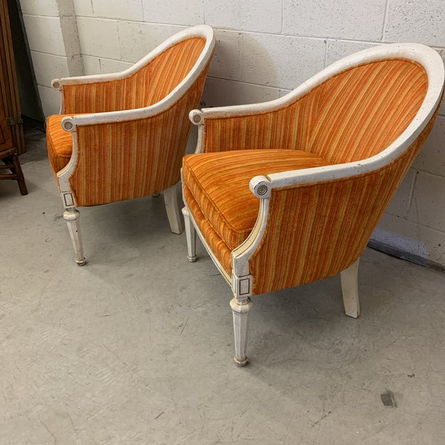 French Vintage French Style Barrel Back Chairs- a Pair For Sale - Image 3 of 13
