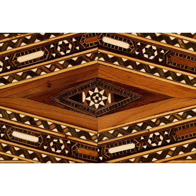 1940s Beautiful Moroccan Inlaid Vintage Trunk Chest W/Geometric Design For Sale - Image 5 of 10