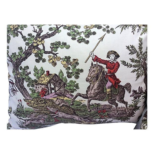 Pair of custom pillows made with a vintage French toile featuring a hunt scene at center. New neutral linen backing with...