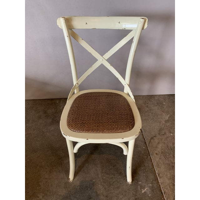 2010s Country Cross Back Braided Seat Chair For Sale - Image 5 of 5