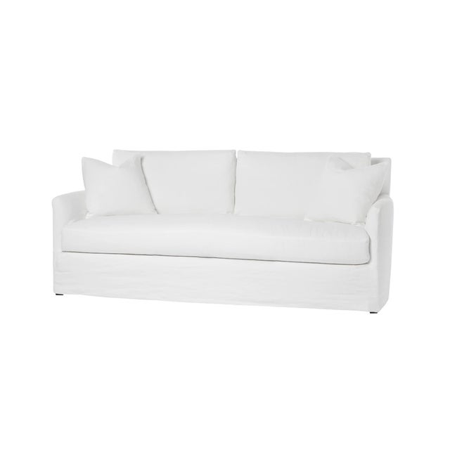 Contemporary Michael Dawkins Jasmin Linen Upholstered Sofa For Sale - Image 3 of 4