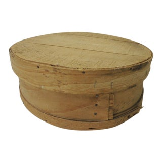 Large Rustic Bent Wood Vintage Cheese Box With Lid For Sale