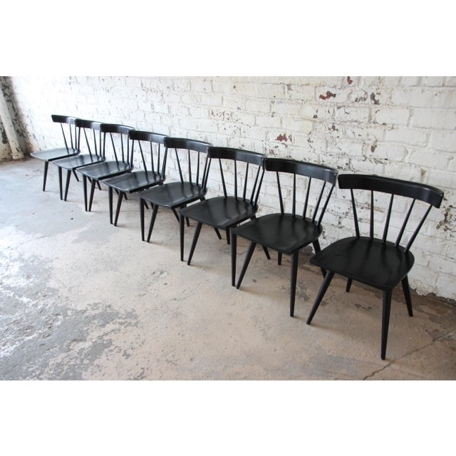 Planner Group Set of Eight Paul McCobb Ebonized Planner Group Dining Chairs For Sale - Image 4 of 13