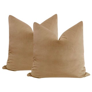"22"" Nutmeg Velvet Pillows - a Pair For Sale"