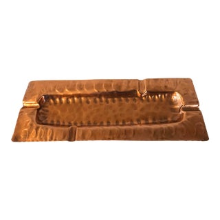 1970s Contemporary Hammered Copper Decorative Cigar Ashtray For Sale