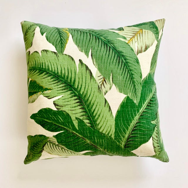 Contemporary Regency Tropical Banana Palm Leaf Pillow - 16ʺw × 16ʺh For Sale - Image 3 of 3