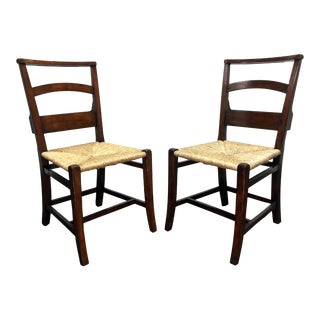 Jonathan Charles Rustic Walnut Church Side Chairs With Rush Seats 3 - a Pair For Sale