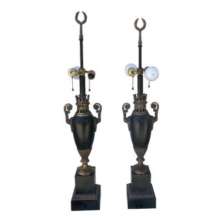 French Louis Philippe Style Black and Gold Lamps - a Pair For Sale