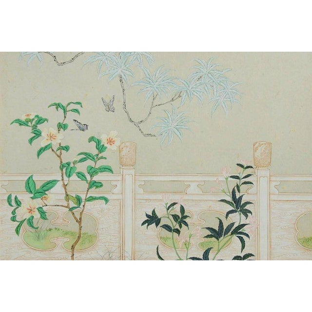 Robert Crowder Chinoiserie Flora and Fauna Painted Panels by Robert Crowder For Sale - Image 4