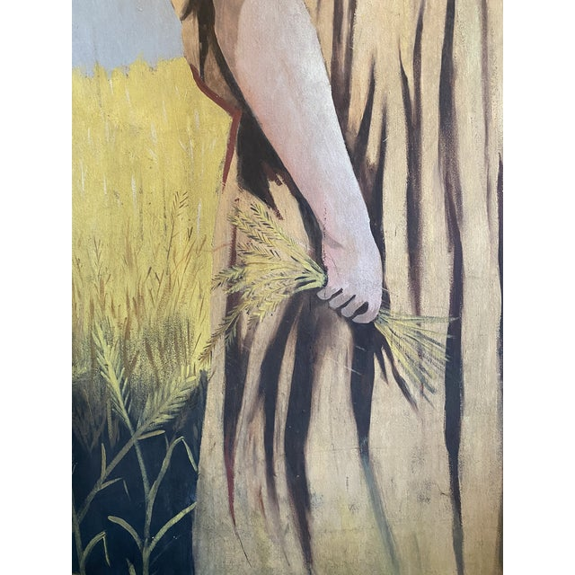 Folk Art 1950s Antique Ruth Harvest Painting For Sale - Image 3 of 13