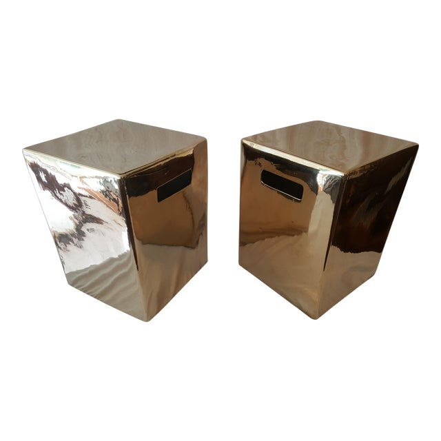 Set of Gold Garden Stools - Pair - Image 1 of 5