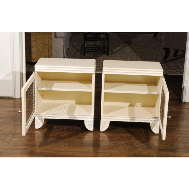 Widdicomb Gorgeous Restored Pair of End Tables by Widdicomb in Cream Lacquer, Circa 1938 For Sale - Image 4 of 11