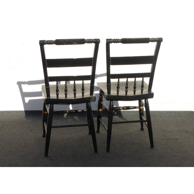 Black Vintage Spindle Back Windsor Chairs - A Pair - Image 9 of 11