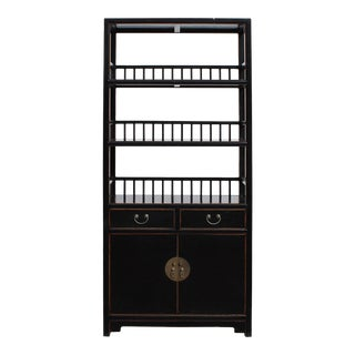 Chinese Distressed Black 3 Shelves bookcase Display Cabinet For Sale