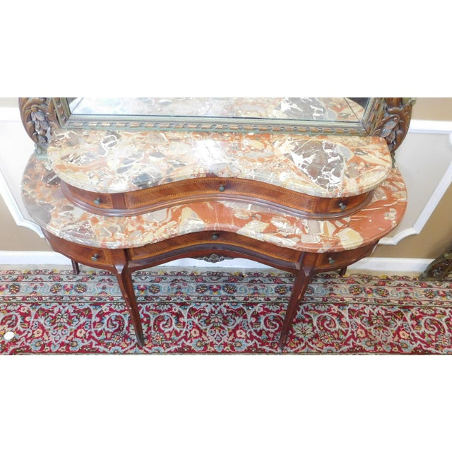 Fine 1920s French inlaid & Banded Mahogany Marble Top Bedroom Dressing Table Vanity w/ Mirror - Image 7 of 11