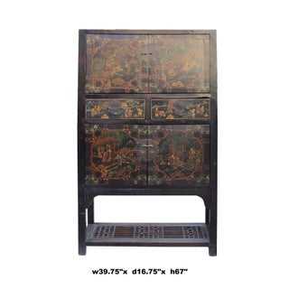Chinese Distressed Brown People Scenery Graphic Storage Wardrobe Cabinet Preview