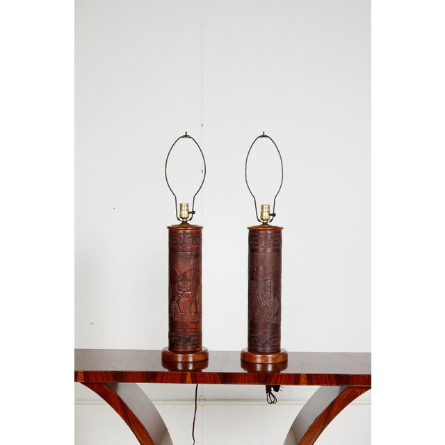 1960s Pair of Vintage Peruvian Leather Lamps W/ Llama and Greek Key Decorations For Sale - Image 5 of 13