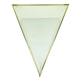 Vintage Mid-Century Inverted Triangle Gold Frame Wall Mount Mirror