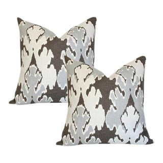 Lee Jofa Bengal Bazaar Grey Pillow Covers - A Pair For Sale