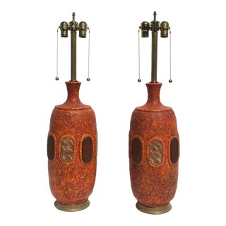 Orange Lava Glazed Ceramic Lamps - a Pair For Sale