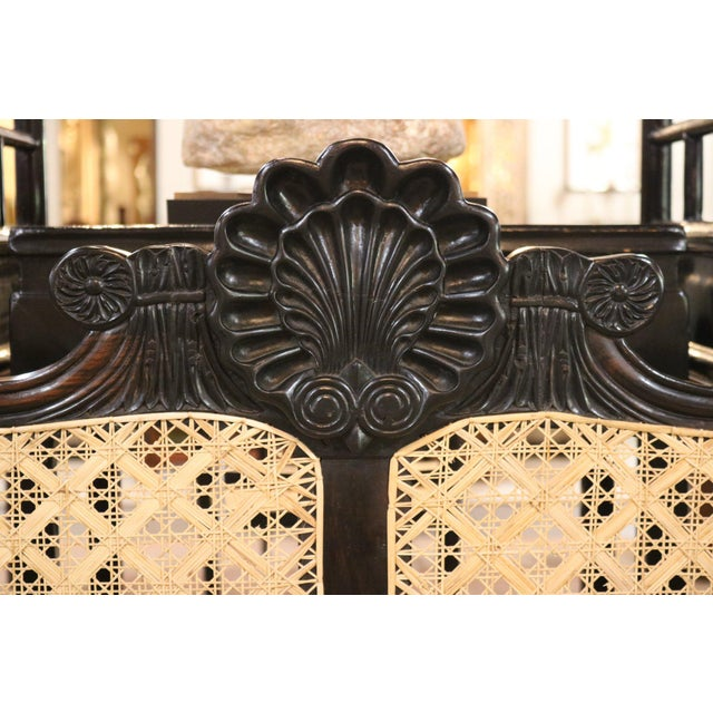 British Colonial 19th Century Caned Settee in Ebony For Sale - Image 3 of 5