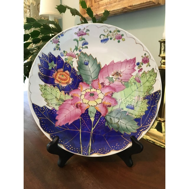 Asian Vintage Hand Painted Tobacco Leaf Decorative Plate For Sale - Image 3 of 13