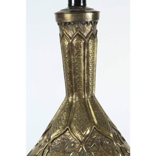 Brass Moorish Indo Persian Brass Table Lamp For Sale - Image 7 of 8