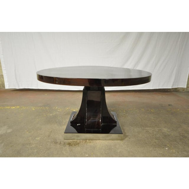 Maurice Dufrène Maurice Dufrene Modernist Rosewood Art Deco Coffee Table With Nickel Base For Sale - Image 4 of 7