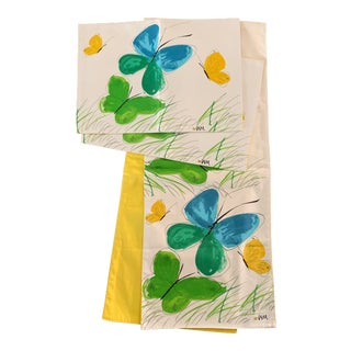 Mid-Century Modern Vera Butterfly Table Runner & Placemats - Set of 3 For Sale