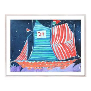 SB Wax Cay by Lulu DK in White Wash Framed Paper, Medium Art Print For Sale