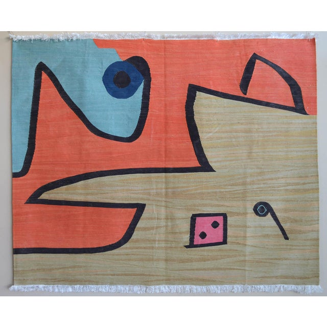 Paul Klee - Silence of the Angel - Inspired Silk Hand Woven Area - Wall Rug 4′6″ × 5′7″ For Sale - Image 11 of 11