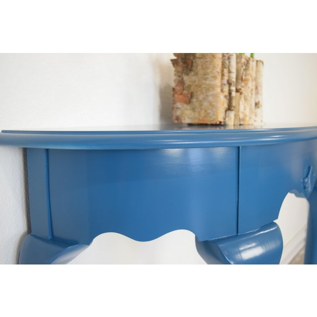 Queen Anne Half-Moon Shape Blue Console Table For Sale In San Francisco - Image 6 of 9