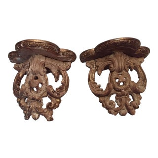 18th Century Hand Carved Rococo Gilt Wood Wall Shelves - A Pair For Sale