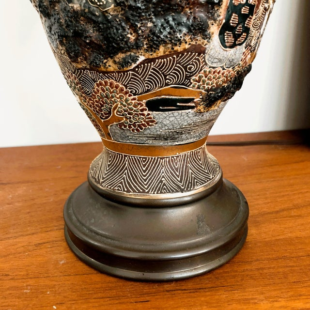 Japanese Satsuma Moriage Table Lamp For Sale - Image 10 of 13