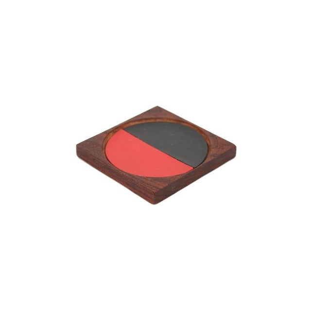 Graphic Danish Teak Coaster Set by Laurids Lonborg For Sale - Image 9 of 11