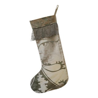 Custom Hand Stenciled and Vintage Metallic Trim Christmas Stocking For Sale
