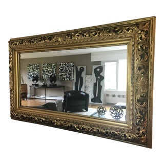 Gilt Carved Antique Rectangular Large Scale Mirror For Sale