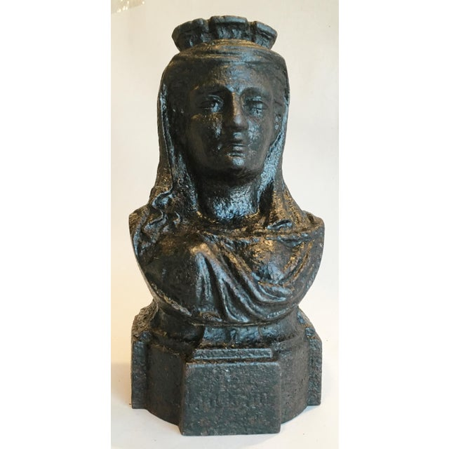 19th Century French Cast Iron Lady Bust Fragment - Image 2 of 7